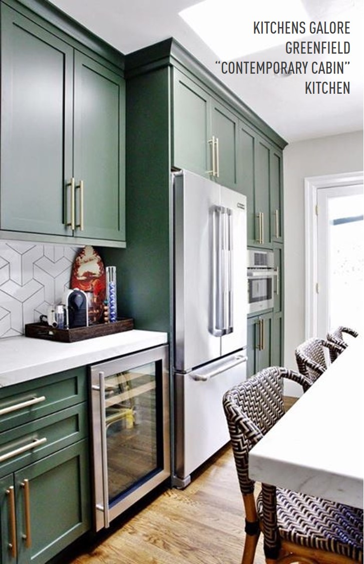 Complementing The Cabinets Are Carrara Marble Tops, Boomerang Gloss White  Backsplash Tile In A Modern Cubist Style Pattern, And A Natural Aged Brass  ...